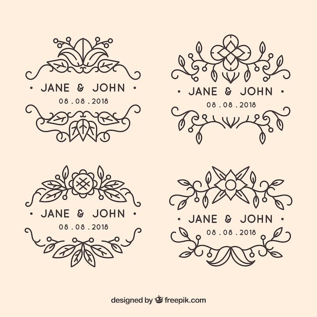 Pack of ornamental wedding labels Free Vector