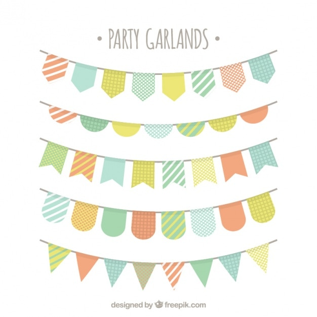 Pack of party buntings in pastel colors Free Vector