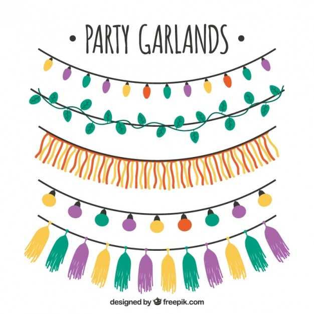 Pack of party garlands and string lights Free Vector