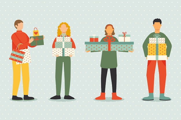 Pack of people buying christmas gifts Free Vector