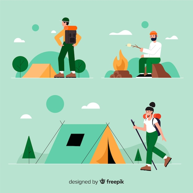 Pack of people camping flat design Free Vector