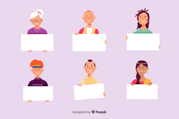 Pack of people holding empty banners Free Vector