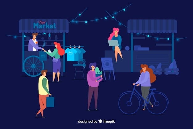 Pack of people at a night fair Free Vector