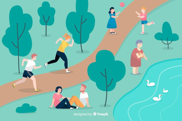Pack of people in the park Free Vector