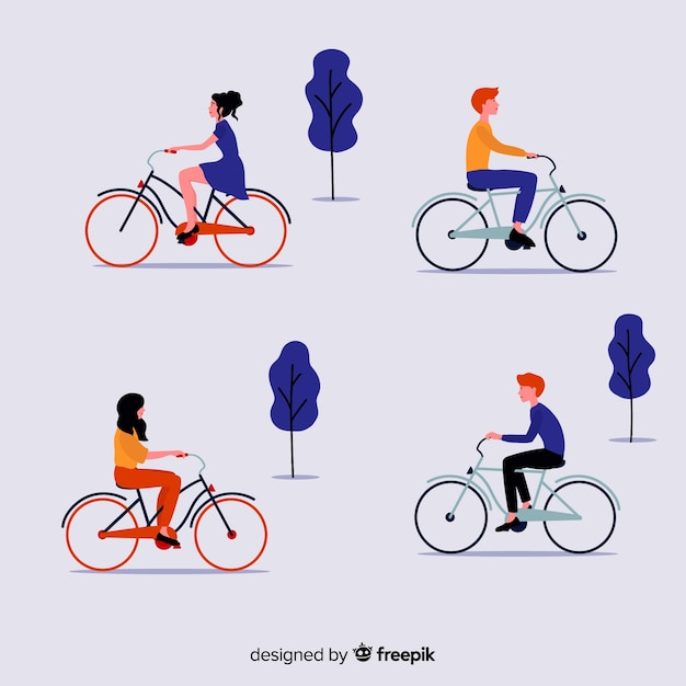 Pack of people riding bikes Free Vector