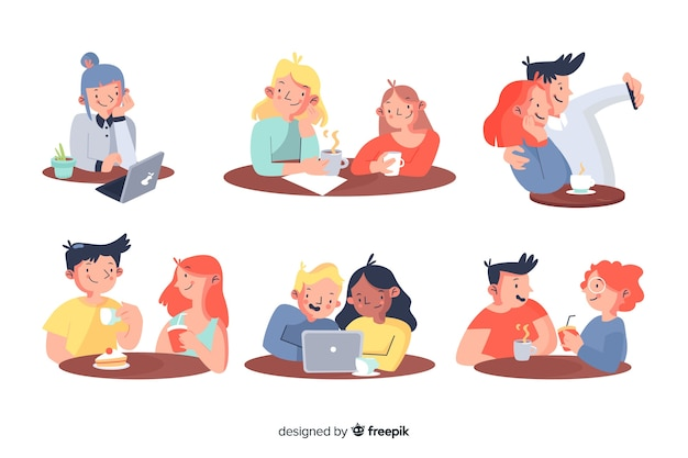 Pack of people sitting at a cafe Free Vector