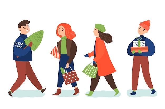 Pack of people with gifts Free Vector