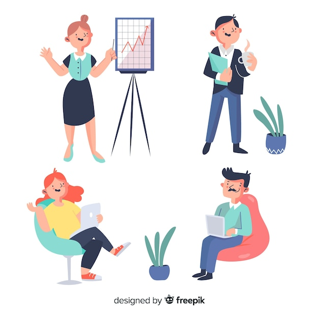 Pack of people working at the office Free Vector