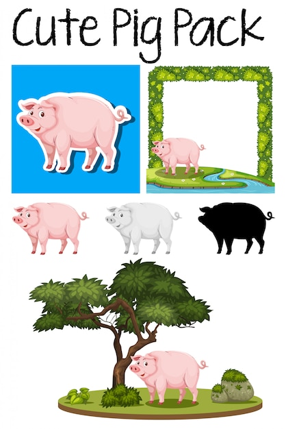 A pack of pig Premium Vector