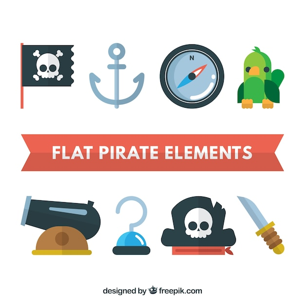 Pack of pirate elements in flat design Free Vector