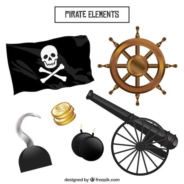 Pack of pirate flag with other elements Free Vector