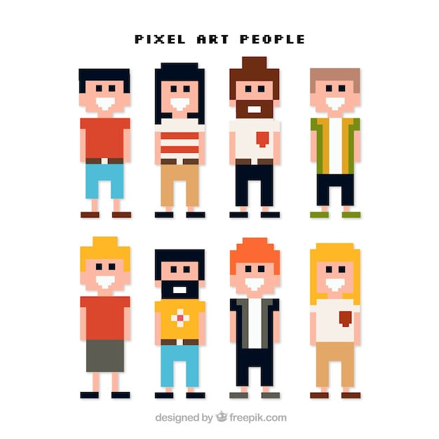 Pack of pixelated young Free Vector