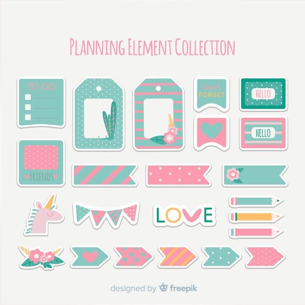 Pack of planning elements Free Vector