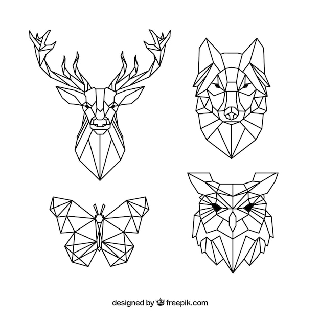 Pack of polygonal animal tattoos Free Vector