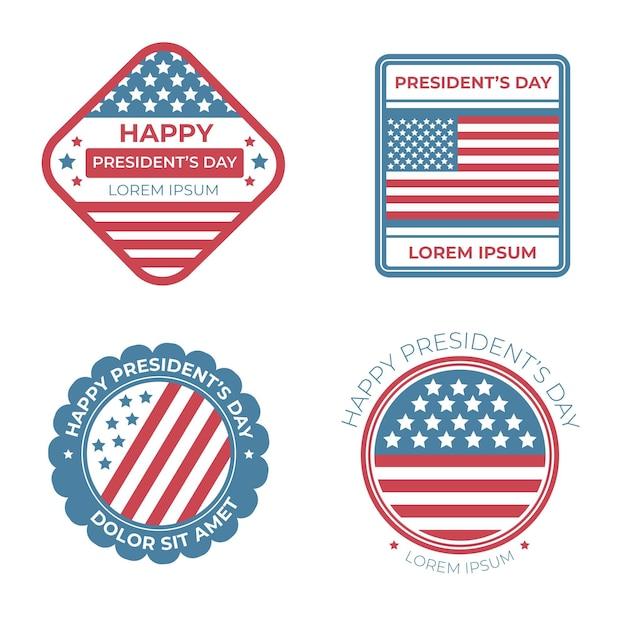 Confezione di etichette per eventi del president's day Vettore gratuito