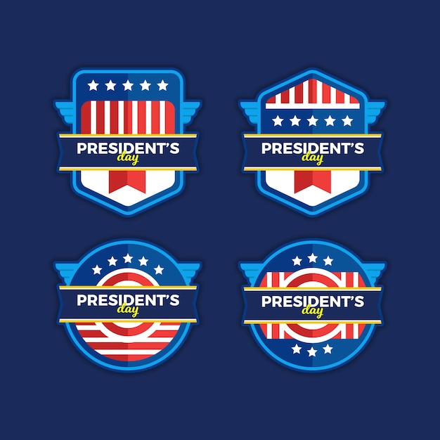 Pack of president's day labels Free Vector