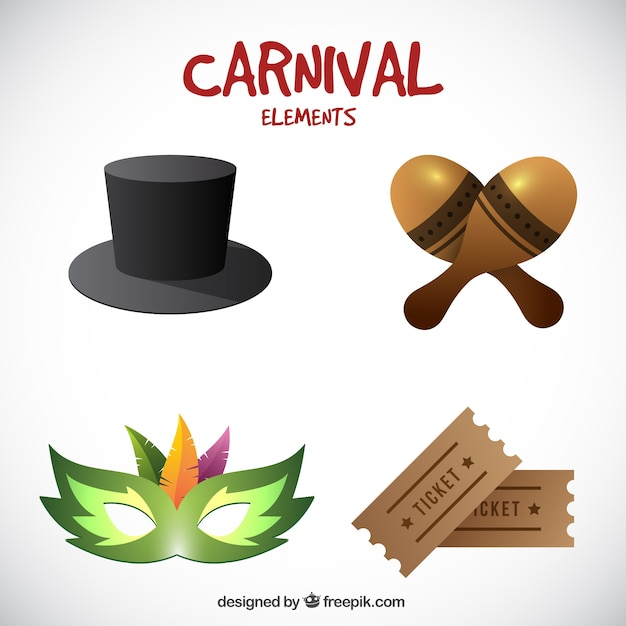 Pack of realistic carnival objects Free Vector