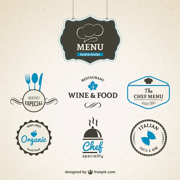 Pack of restaurant badges Free Vector