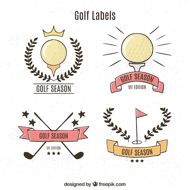 Pack of retro golf labels Free Vector