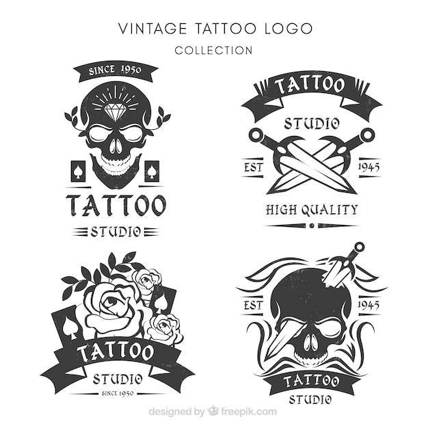 Pack of retro hand drawn logos Free Vector