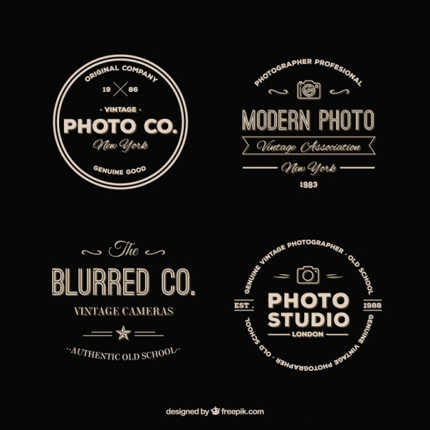 Pack of retro photography logos Free Vector