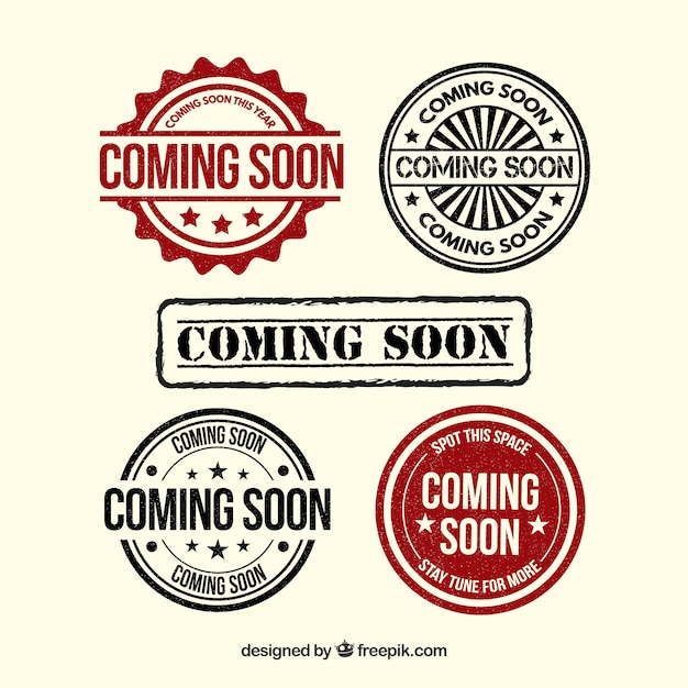 Pack of retro stickers coming soon Free Vector