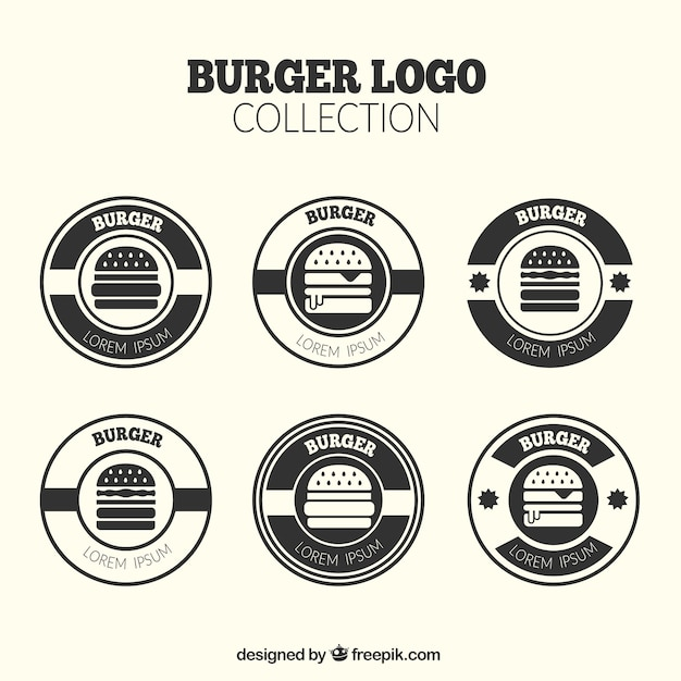 Pack of round burger logos Free Vector