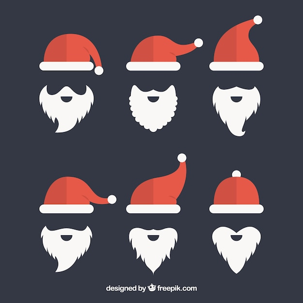 Pack of santa claus hats and beard in flat design Free Vector