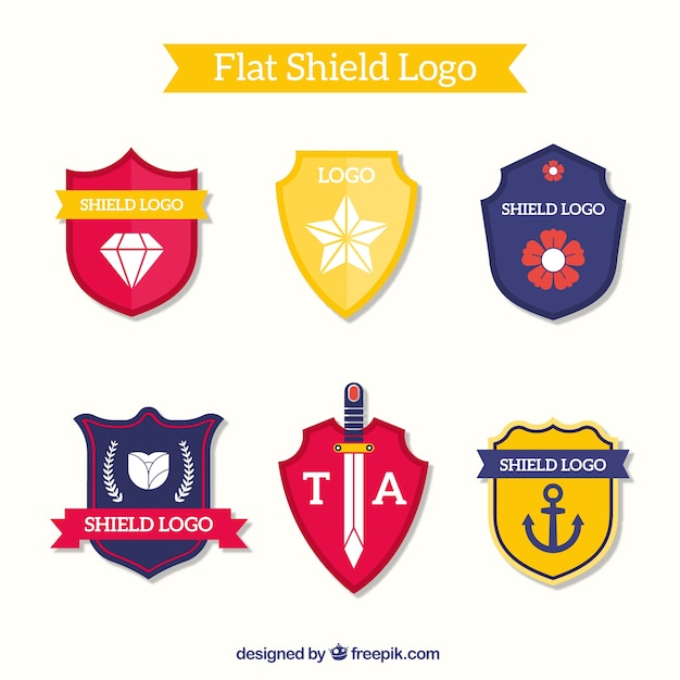 Pack of shield-shaped logos Free Vector
