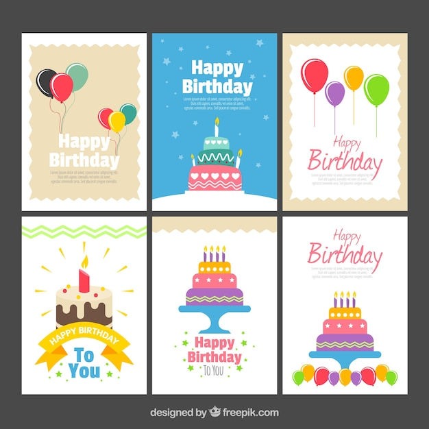 Pack of six cards with birthday elements Free Vector