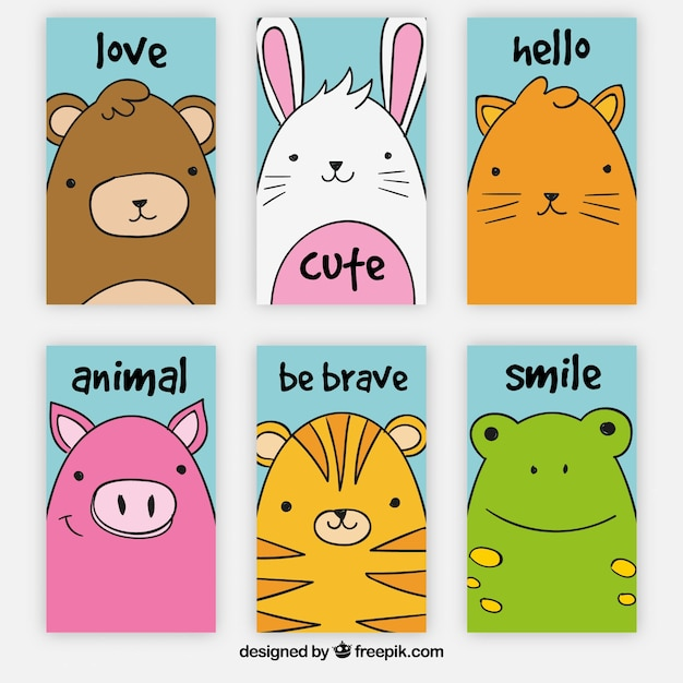 Pack of six cute animal cards Free Vector
