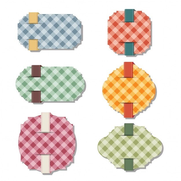 Pack of six labels with checkered backgrounds Free Vector
