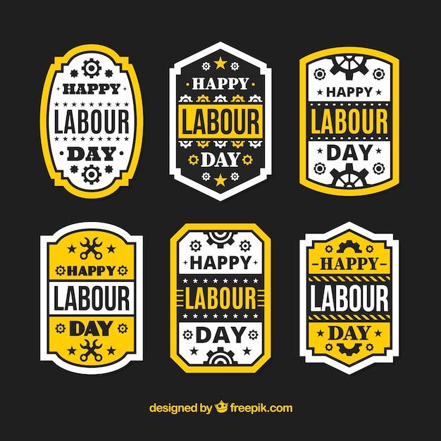 Confezione da sei giorni di lavoro etichette con elementi gialli Vettore gratuito
