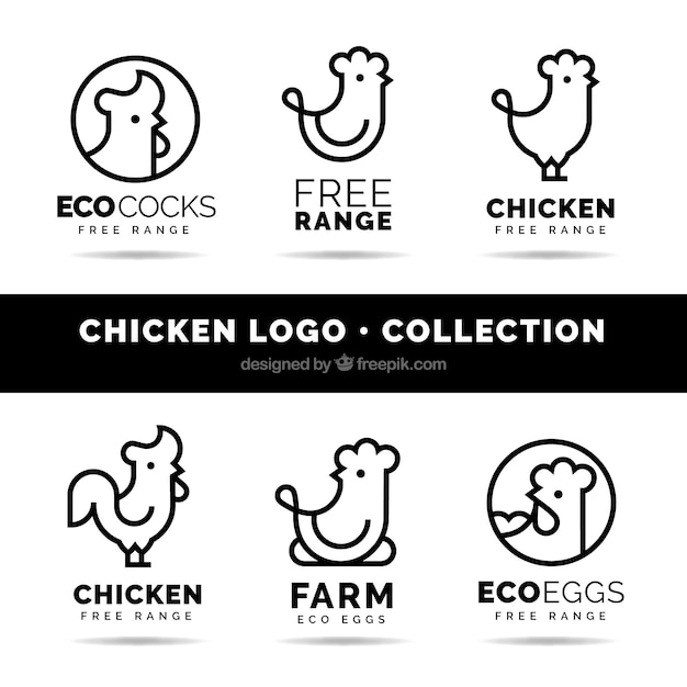 Pack of six linear chicken logos Premium Vector
