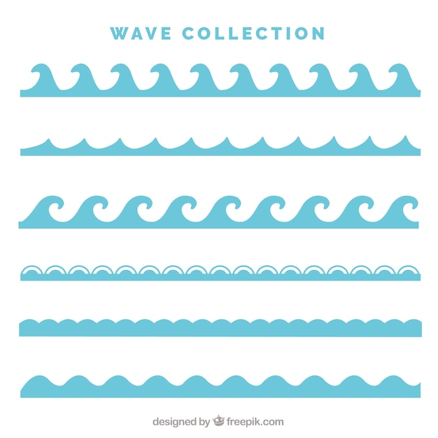 Pack of six types of waves in flat style Free Vector