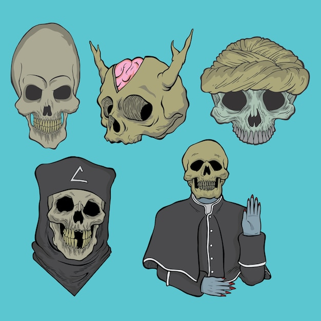 Pack of skull. hand drawn style vector doodle design illustrations. Premium Vector