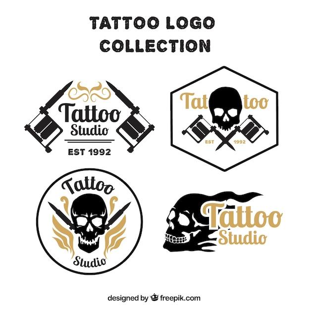Pack of skull tattoos logos Free Vector