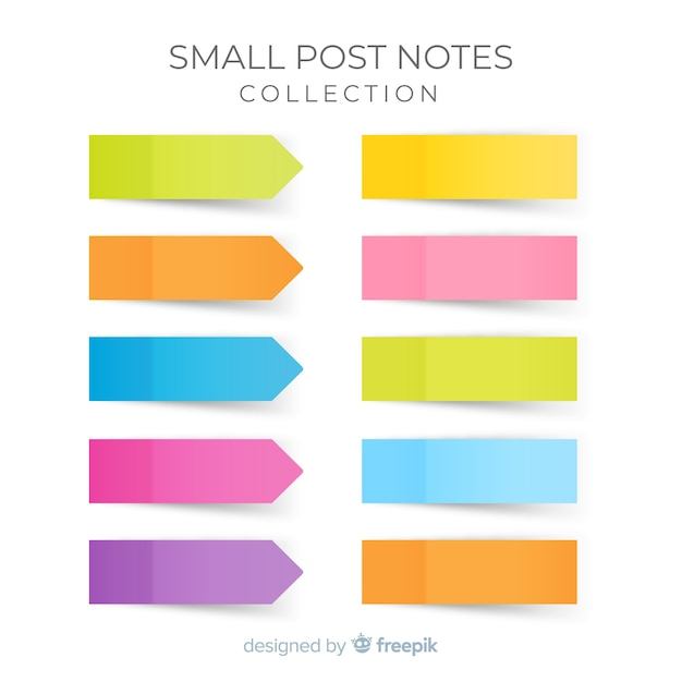 Pack of small sticky notes in realistic style Free Vector