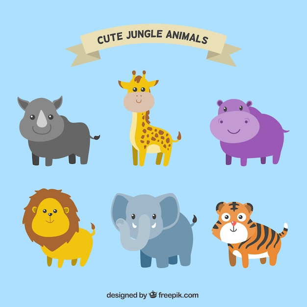 Pack of smiling jungle animals Free Vector
