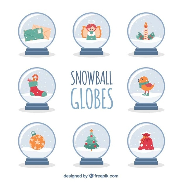 Pack of snowball globes with christmas elements Free Vector