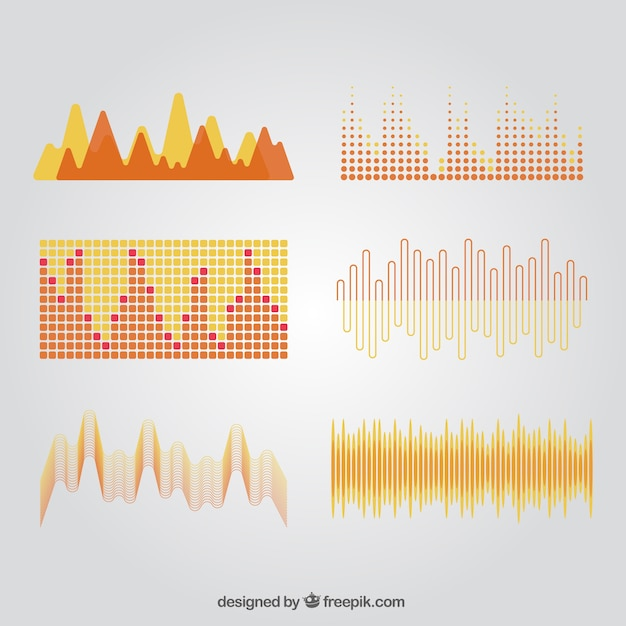 Pack of sound waves in abstract style Free Vector