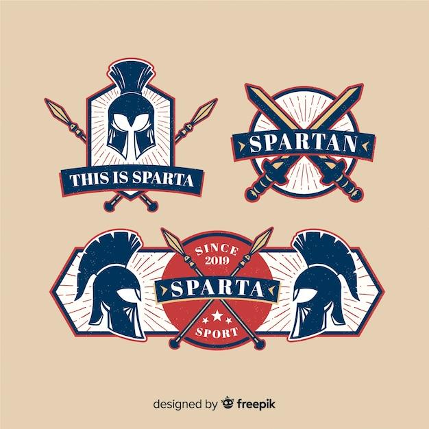 Confezione di badge spartani Vettore gratuito