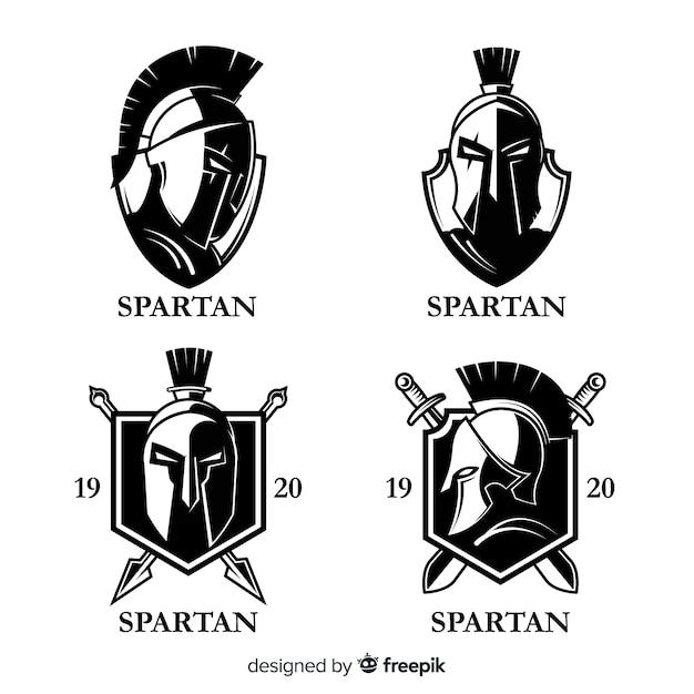 Confezione di etichette spartane Vettore gratuito
