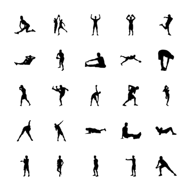 Pack of sports silhouettes icons Premium Vector