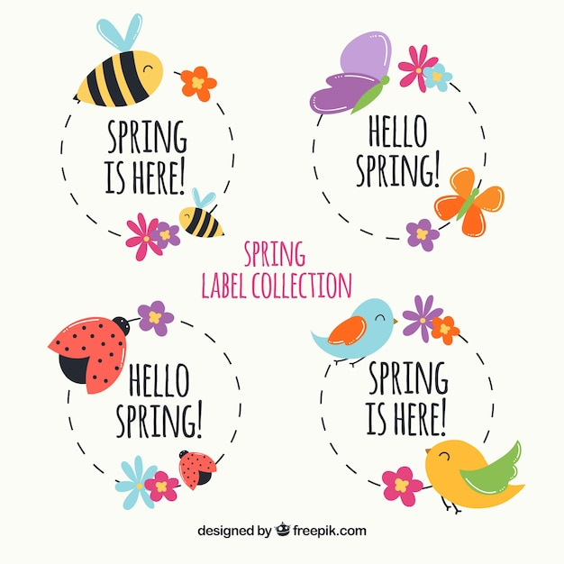 Pack of spring labels with animals Free Vector