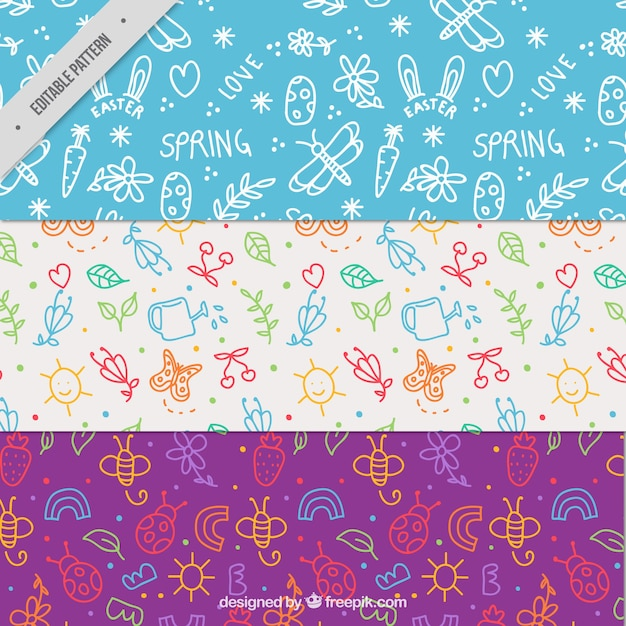 Pack of spring patterns with cute doodles Free Vector