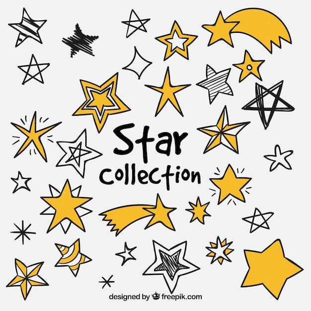 Pack of stars of different type Free Vector