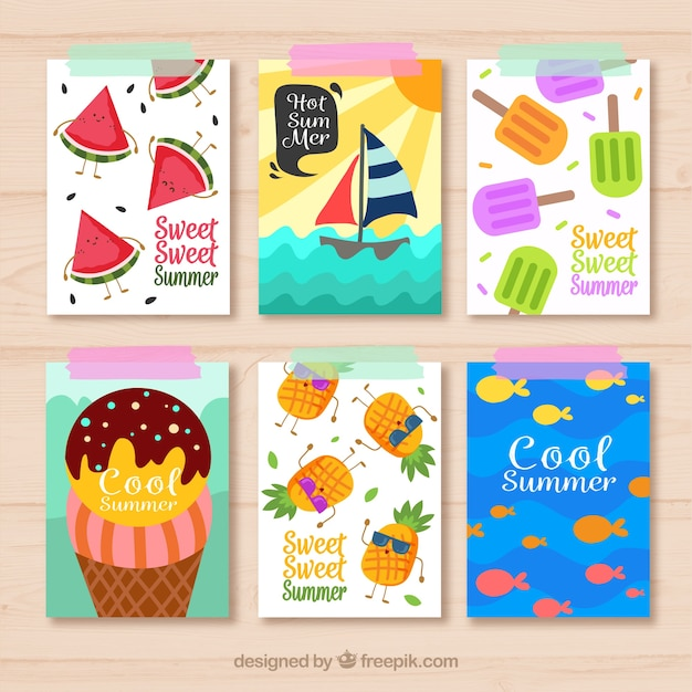 Pack of summer cards with flat items Free Vector