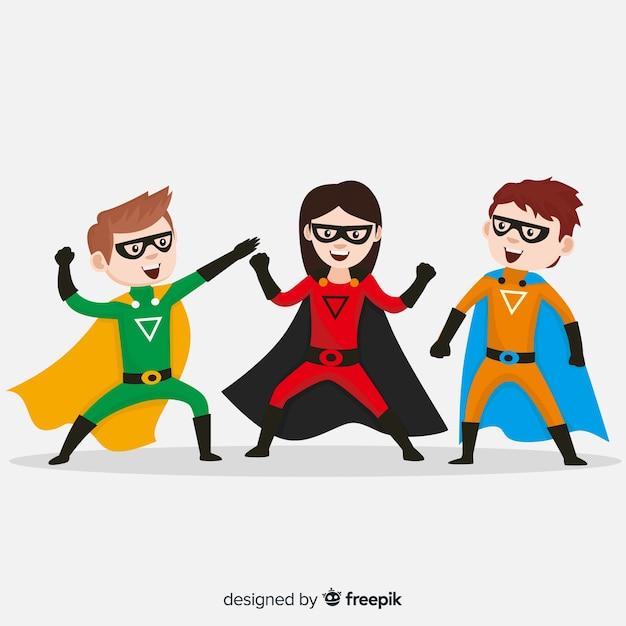 Pack of superhero kids Free Vector