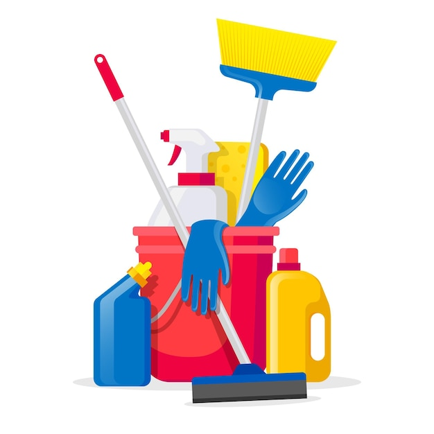 Pack of surface cleaning products Free Vector